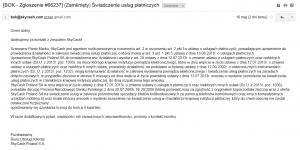 SkyCash odpowiedź BOK na temat zezwolenia UKNF