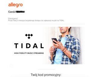 """Promocja Allegro Tidal przez trzy miesiące """"za darmo"""""""