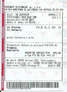 Bilet Przewozy Regionalne relacji Mikołów Katowice