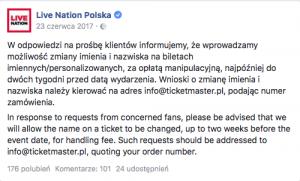 Facebook Live Nation Polska informacja o zmianie nazwiska na bilecie