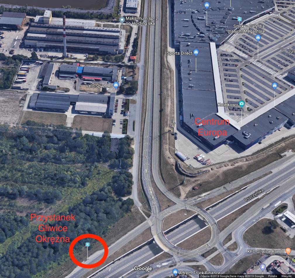 Google Maps Centrum Europa brak przejścia z przystanku Gliwice Okrężna. Utrudnienia, uciążliwy dojazd.