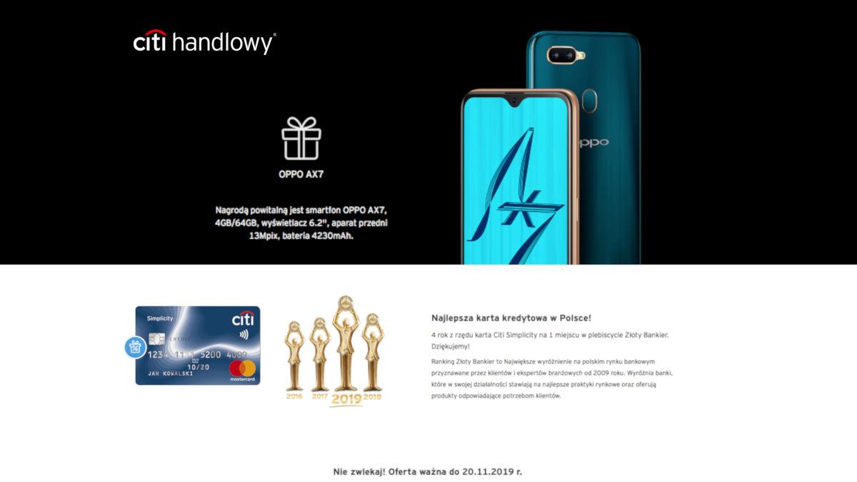 Karta kredytowa Citi z telefonem Oppo AX7
