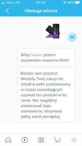 Aplikacja mobilna Wish. powiadomienie