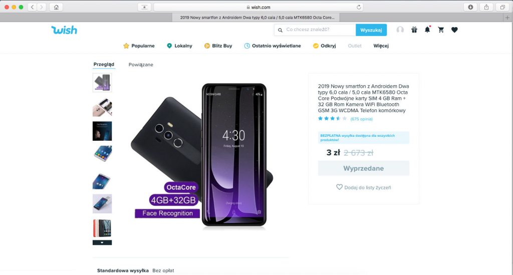 wish smartfon promocja za 3 PLN